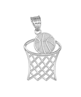 Sports Charms 925 Sterling Silver Textured Hoop and Basketball Charm Pendant