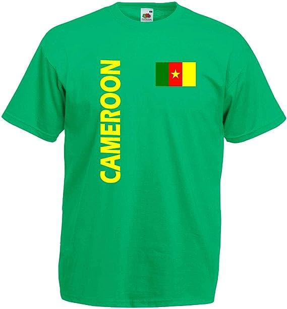 Fruit of the Loom Kamerun Herren T-Shirt Cameroon Trikot Fan Shirt von S-XXXL