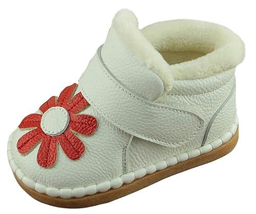 5d9d69cab8b9b Cloud kids Botte De Neige Mignon Fleur Fermeture Scratch Antidérapant  Chaussure De Coton Peluche Chaud Hiver