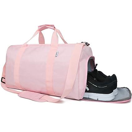Oflamn Bolsa de Viaje Bolsa Fin de Semana - Bolsa de Deporte con Compartimento Zapatos para Mujeres y Hombres - Sports Gym Bag (1.0 Rosado)