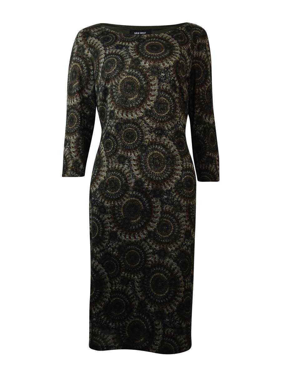Nine West Womens Printed Metallic Wear to Work Dress Taupe XL