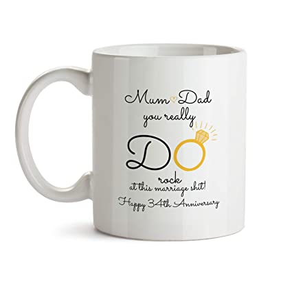 34th Wedding Anniversary Gift Mug - BB21 Mum And Dad You Do Rock At Marriage -