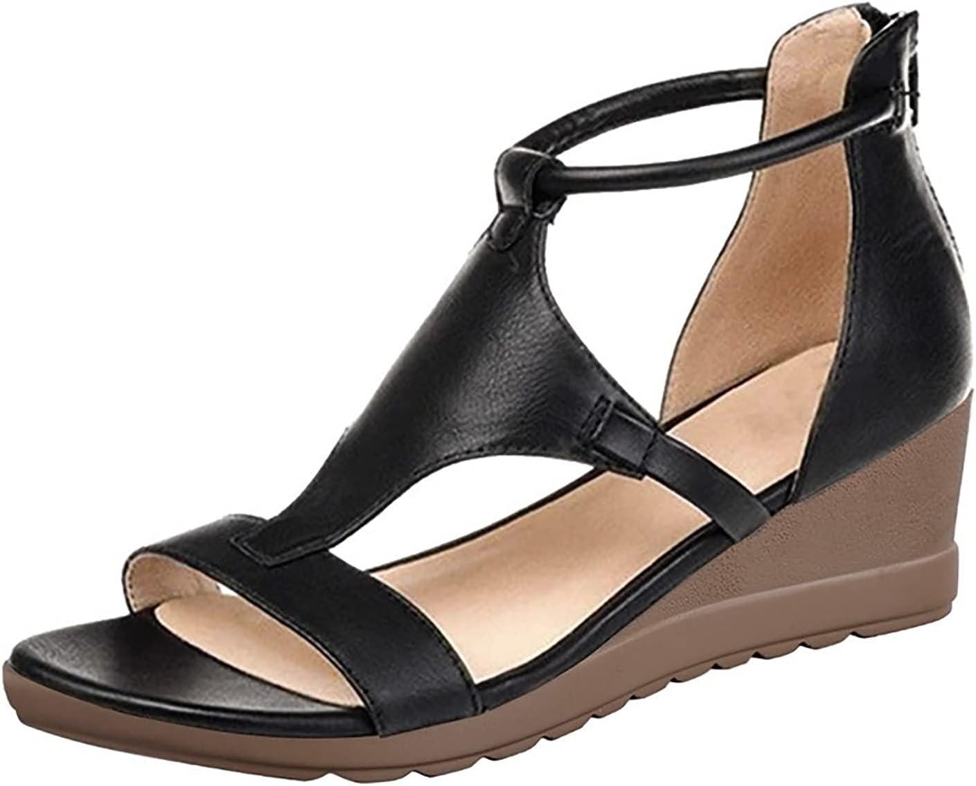 BTKD Sandalias para Mujer Mujer Casual Verano Confort Sandalias Deslizantes Sandalias Planas de Cuero de Imitación Chanclas Zapatos para Deportes Al Aire Libre,Negro,42