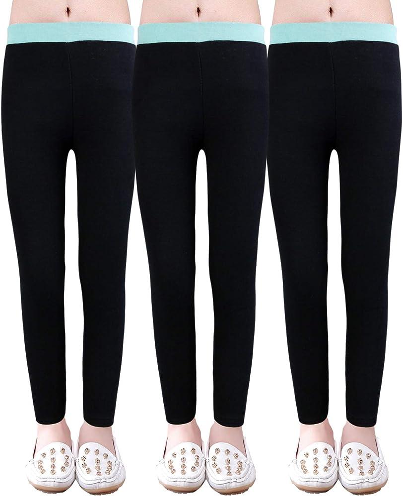 WEWINK PLUS 3 Pack Girls Solid Leggings Pants Classic Leggings for Kids