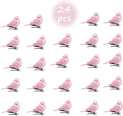 24pcs Christmas Artificial Feather Birds Tree Craft Table Decoration