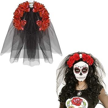 NET TOYS Banda Pelo Día de los Muertos Bisutería La Catrina Rojo y ...