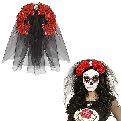 NET TOYS Banda Pelo Día de los Muertos Bisutería La Catrina Rojo y Negro Velo Halloween Diadema cráneo Complemento para el Cabello de Calavera y Rosa ...
