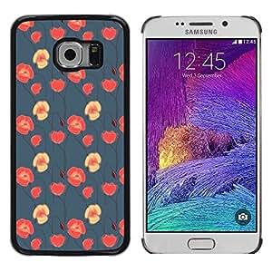 FlareStar Colour Printing Floral Blue Red Pink Wallpaper Native cáscara Funda Case Caso de plástico para Samsung Galaxy S6 EDGE / SM-G925 / SM-G925A / SM-G925T / SM-G925F / SM-G925I