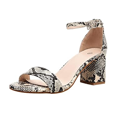 5d0e5790824f0 Amazon.com: Women Fashion Casual Snakeskin Print Heeled Sandals Low ...