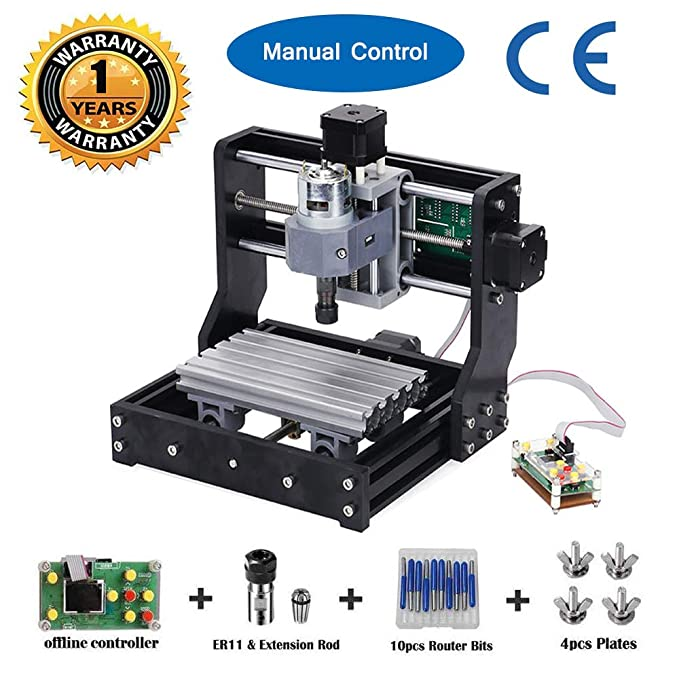 MYSWEETY Upgrade Version CNC 1610 Pro GRBL Control DIY Mini CNC Machine, 3  Axis Pcb Milling Machine, Wood Router Engraver with Offline Controller and