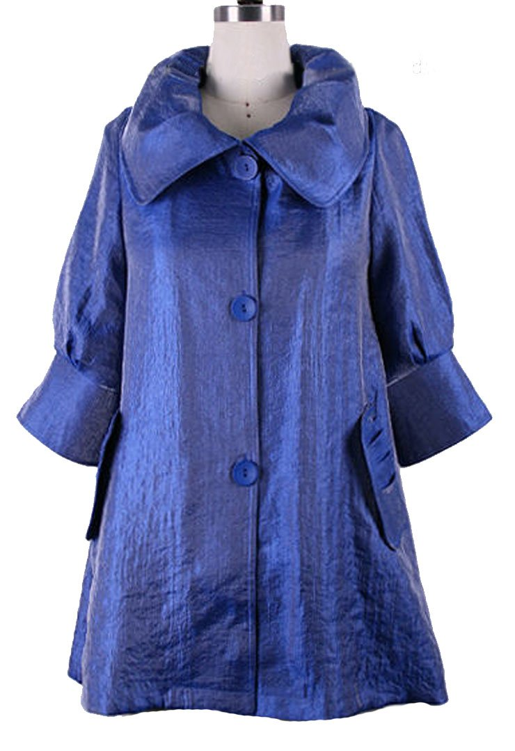 ''The Swing Jacket'' - Fun & Flattering Fashion - Style 200 by Damee NYC - Royal Blue-large