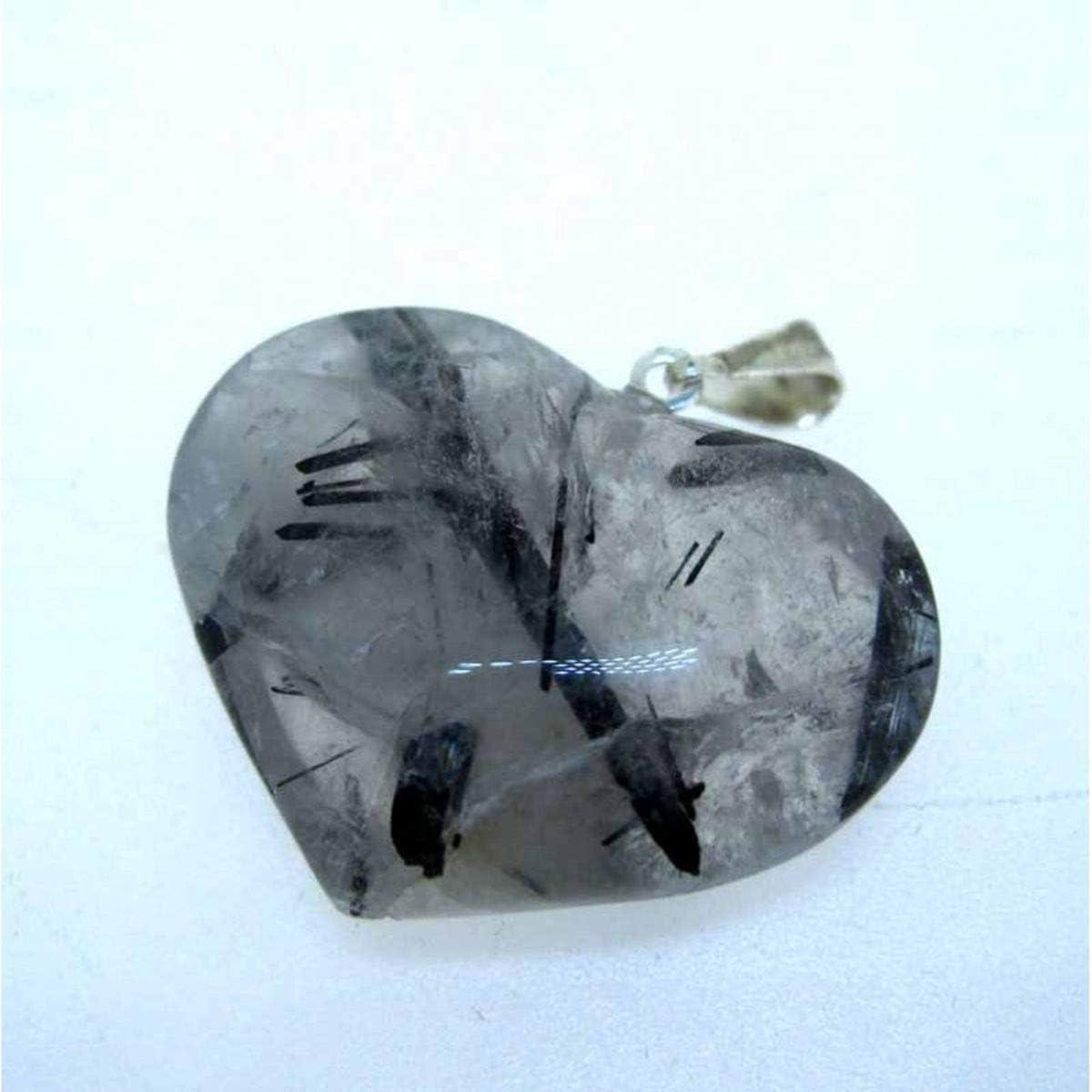 Colgante Corazon en Cuarzo Turmalinado Minerales y Cristales, Belleza energética, Meditacion, Amuletos Espirituales