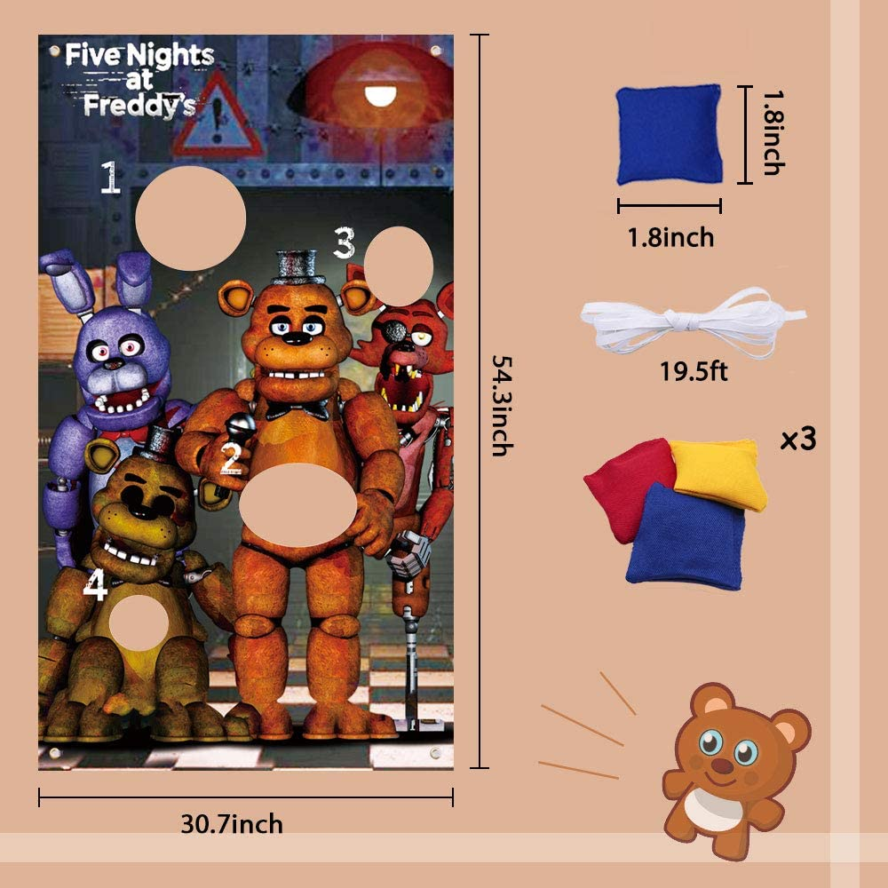 Cool Game Theme Party Supplies Decorations Happy Birthday Party Sign for Kids Girls Boys Outdoor Indoor Activity Games Sunny seat Five Nights at Freddy/'s Toss Game with 3 Bean Bags