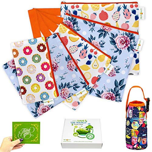 Reusable Snack Bags and Sandwich Bags For Kids - Eco Friendly Zipper Bag Washable Dishwasher Waterproof - Safe Food Set BPA Cloth Baggies Non Toxic Lunch Adults - 5 Pack - Zipper Reusable Sandwich