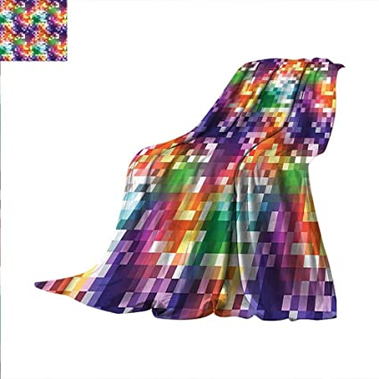 Amazon Colorful Throw Blanket Rainbow Colored Square Warm New Colorful Throw Blankets