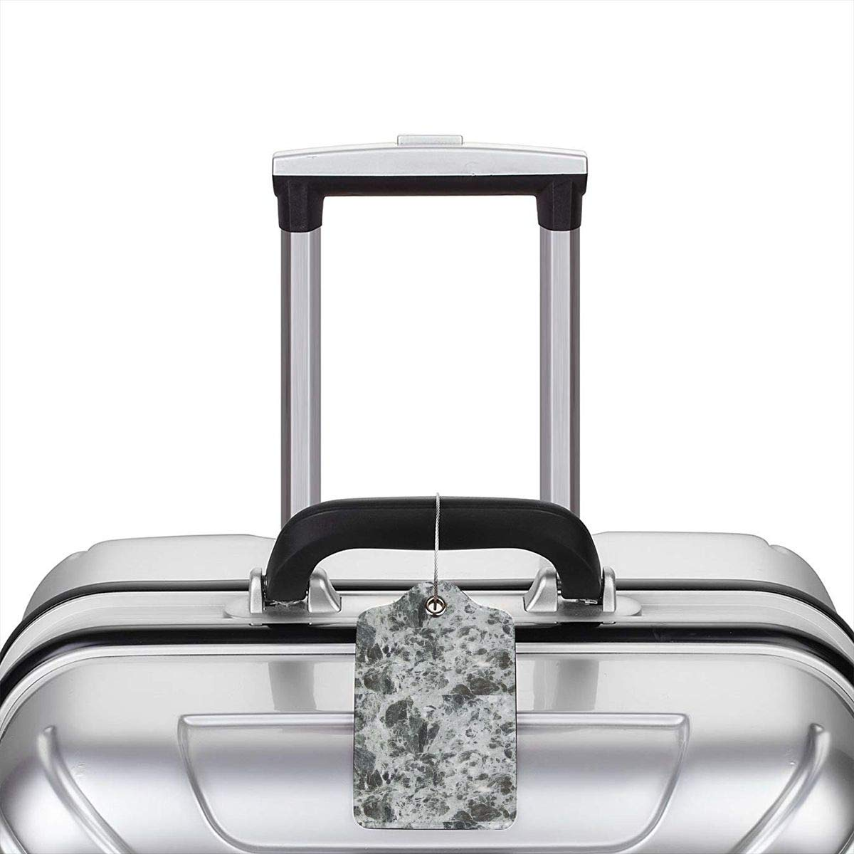 Gray and White Marble Texture 2.7 x 4.6 Blank Tag Key Tags for Travel Suitcase Handbags Gift Leather Luggage Tags Full Privacy Cover and Stainless Steel Loop 1 2 4 Pcs Set