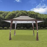 Cloud Mountain 13' x 13' Pop Up Canopy Outdoor Yard Patio Double Roof Easy Set Up Canopy Tent for Party Event, Brown Beige
