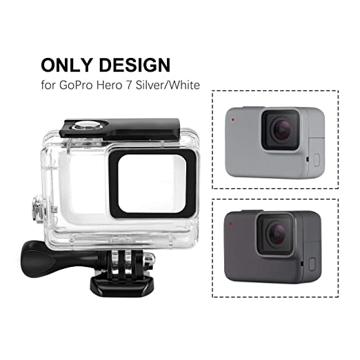 Kupton Waterproof Case for GoPro Hero 7 Silver/ White Housing Case Accessaries Diving Protective Housing Shell 45 Meter for Go Pro Hero7 Silver White ...