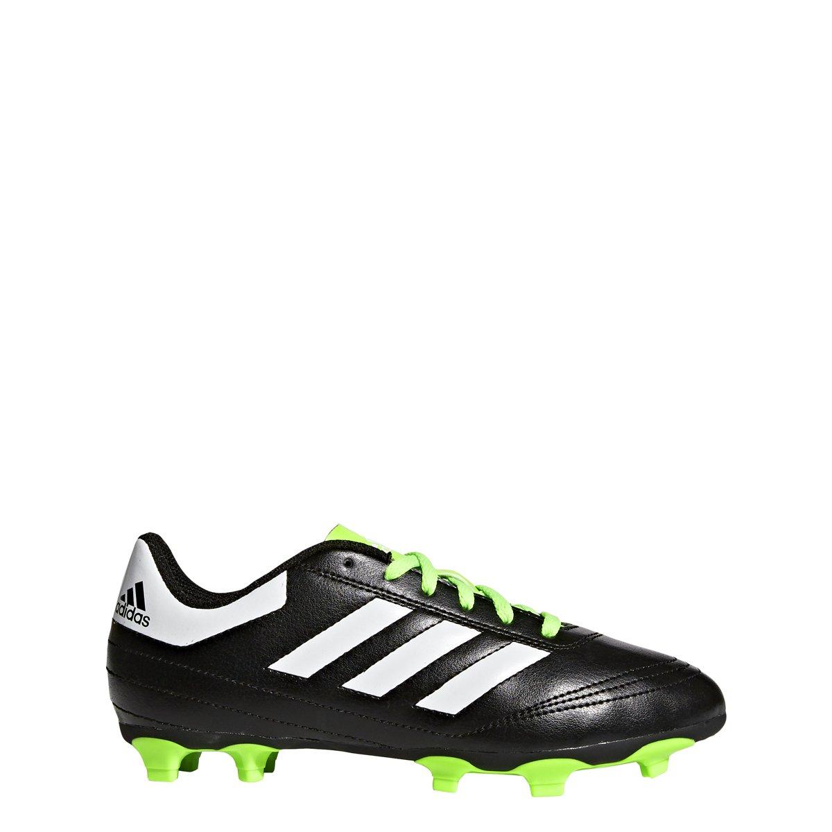 adidas Performance Kids' Goletto VI J Firm Ground Soccer Cleats, Black/White/Sgreen, 2 Medium US Little Kid