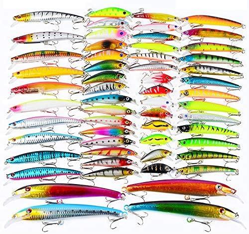 ルアー セット 海川湖についてはトラウトパイクパーチカープとザンダーに適したルアーセットの釣り57個 付き 釣り初心者に (Color : Multi-colored, Size : Free Size)