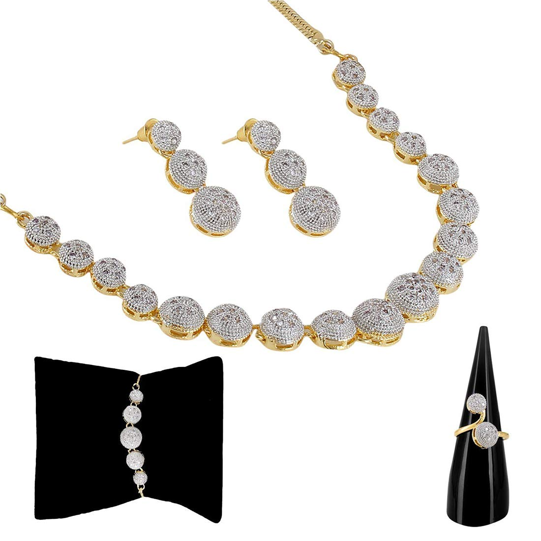 Zeneme American Diamond Party Wear Traditional Stylish