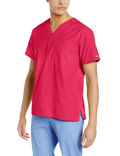 Dickies Men's V-Neck Scrub Top, Hot Pink, 4X-Large