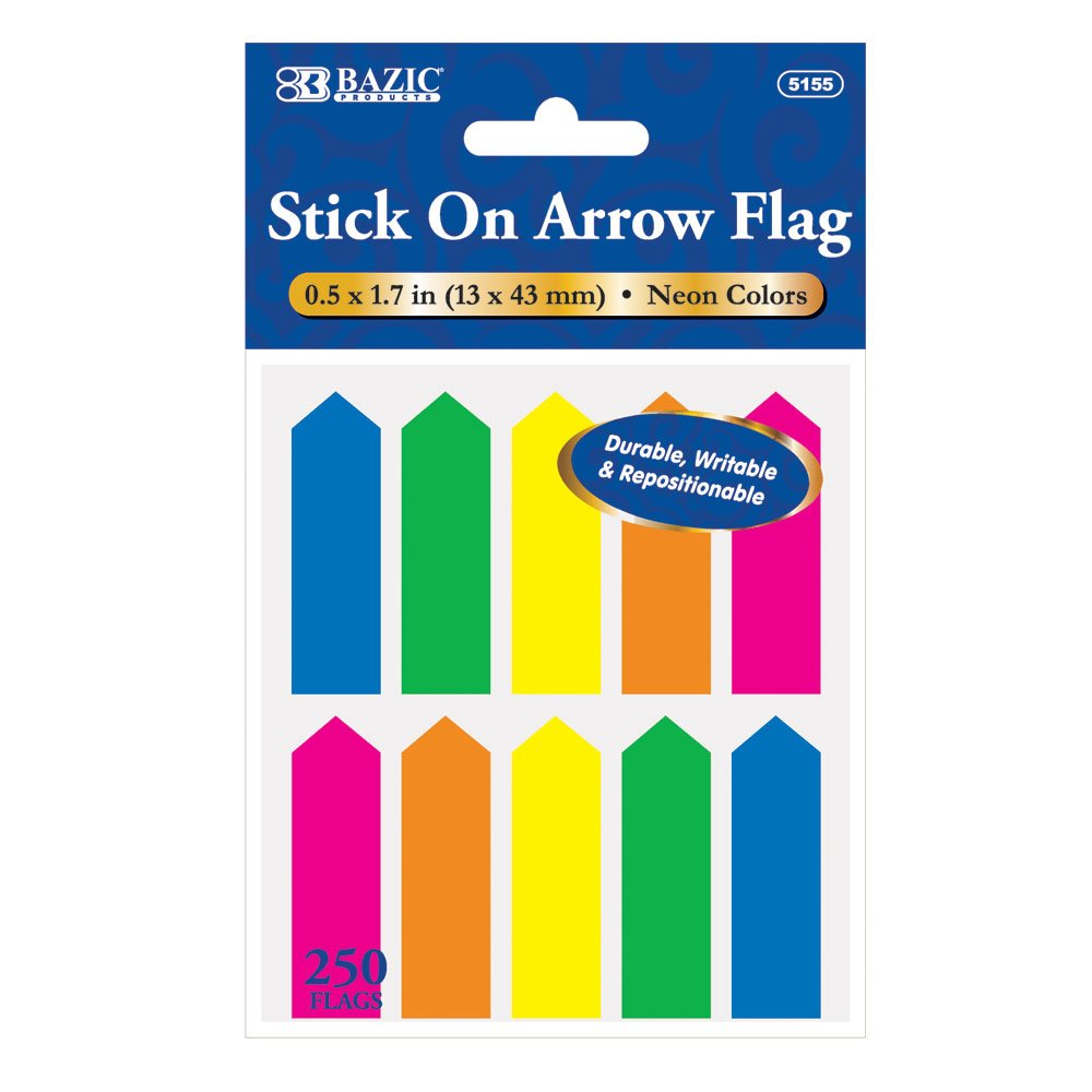 BAZIC 25 Ct. 0.5'' X 1.7'' Neon Color Arrow Flags (10/Pack), Case of 24 (5155-24) by BAZIC