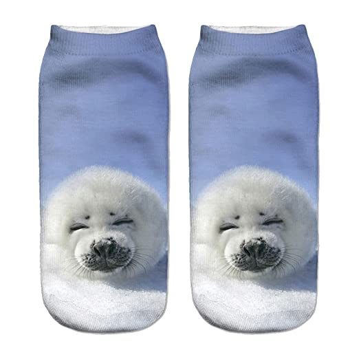 Women Bear Animals Print 3D Sock Unisex Low Cut Ankle Socks Cute Crazy Casual