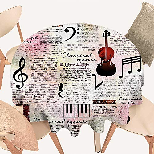 haommhome Old Newspaper Decor Circular Table Cover Classical Music Theme Instruments Piano Violin Notes Symbols Round Tablecloth D 50