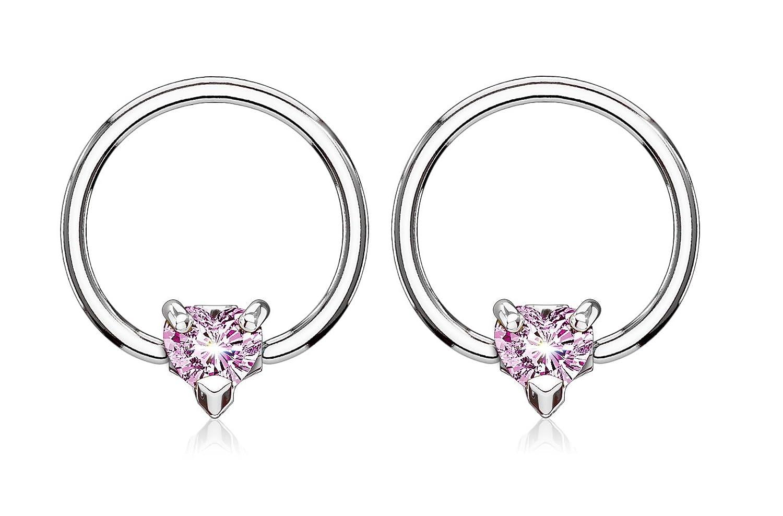 Pierced Owl 14GA CZ Crystal Heart Captive Bead Nipple Rings