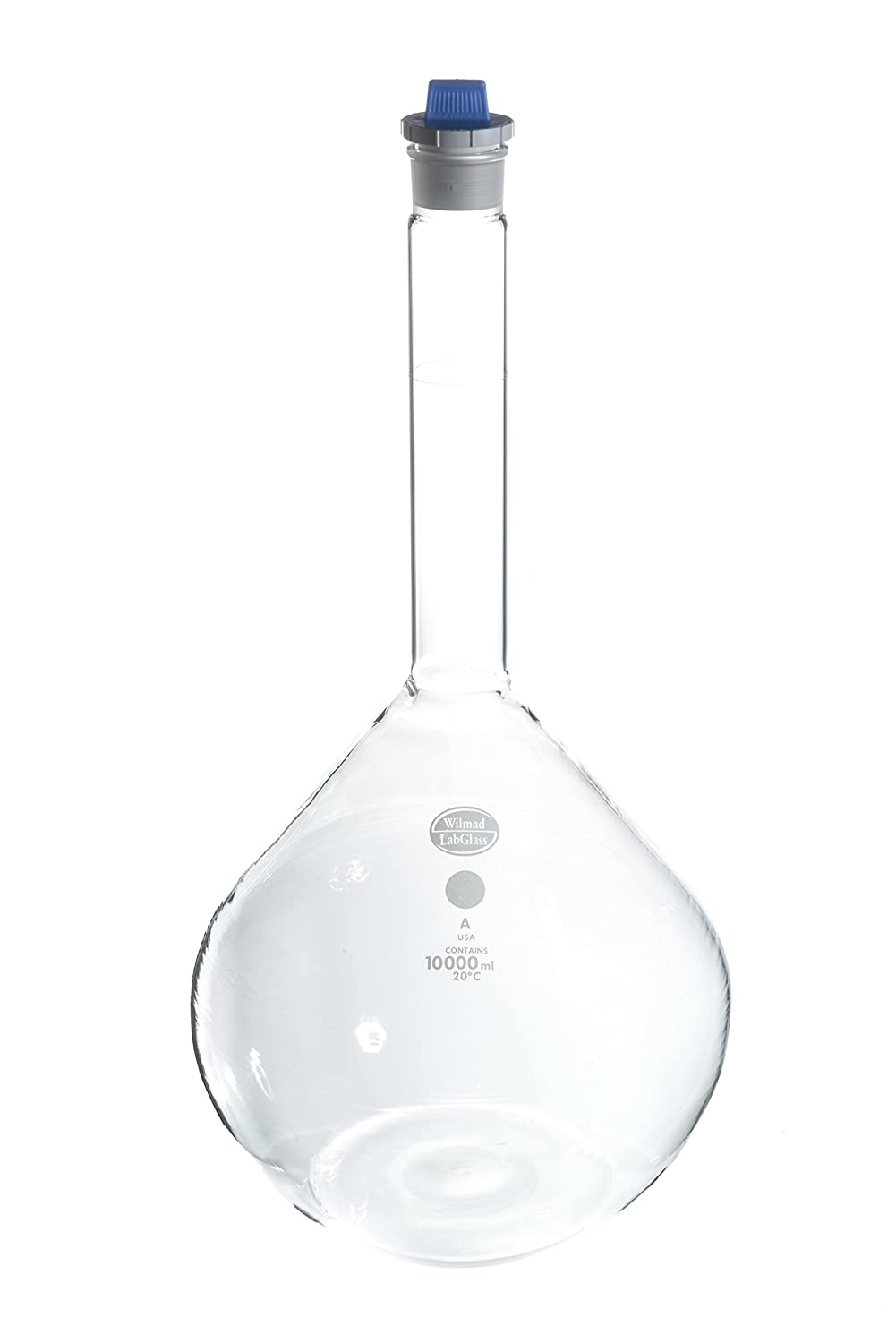 Wilmad-LabGlass LG-8116-132 Class A Volumetric Flask Size 38 Plastic Stopper 10000mL TC