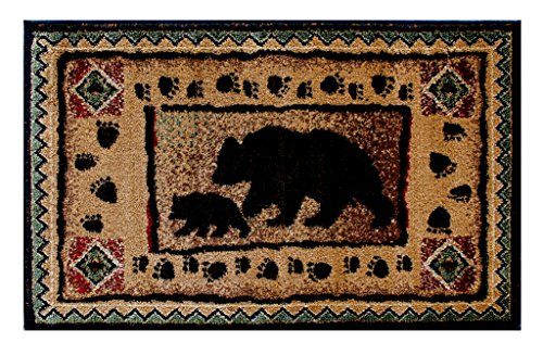 Cabin Lodge Mat Area Rug with Bear And Cub Image (2 Feet X 3 Feet 2 Inch) (Clipart Cottage)