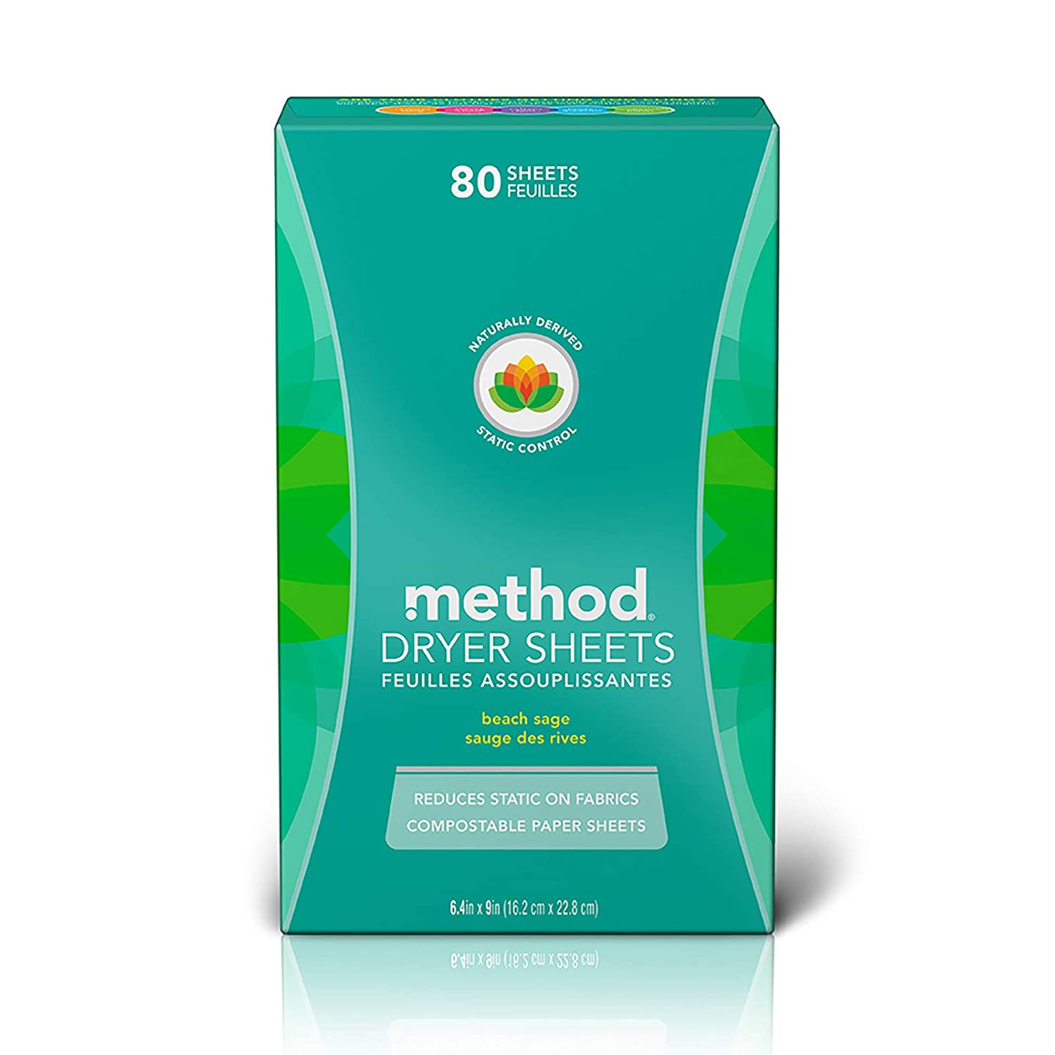 Method Dryer Sheets, Beach Sage, 80 Count