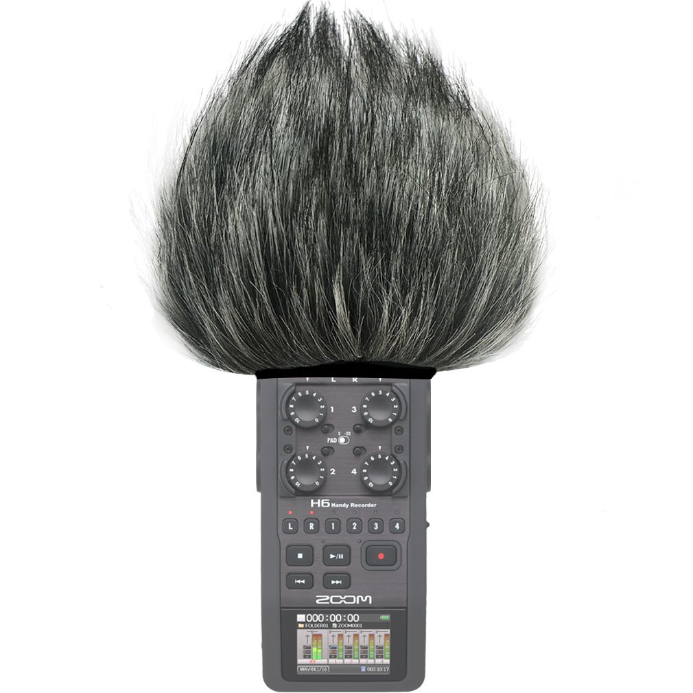 First2savvv TM-H6-D01 Outdoor Portable Digital Recorders Furry Microphone Mic Windscreen Wind Muff for Zoom H6 Recorder