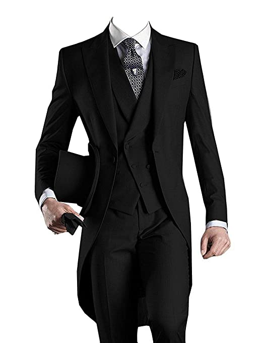 Edwardian Men's Formal Wear YBang Mens Classic 3 Pieces Tux Suit One Button Regular Fit Long Tail Tuxedos $84.90 AT vintagedancer.com