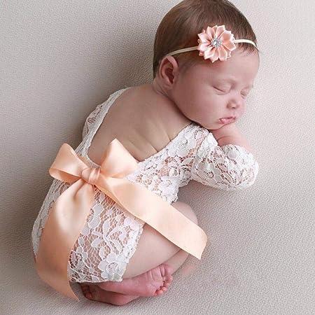 FOONEE - Traje de Encaje para fotografía de bebé recién Nacido, Traje de bebé niña, Accesorios para fotografía, Mono de Encaje para Fotos Amarillo ...