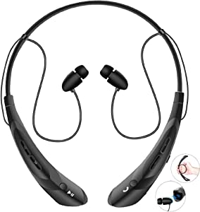 Bluetooth Neckband Headphones with Magnetic Earbuds, V4.2 Flexible Wireless Bluetooth Headset with Mic Sports Headphones for Running HD Stereo Noise Cancelling Earphones for iPhone Samsung LG(Black)