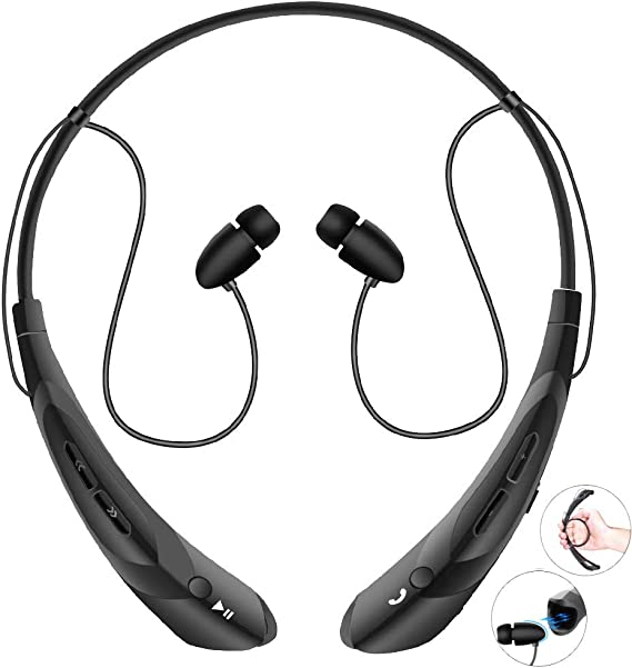 Amazon Com Bluetooth Neckband Headphones With Magnetic Earbuds V4 2 Flexible Wireless Bluetooth Headset With Mic Sports Headphones For Running Hd Stereo Noise Cancelling Earphones For Iphone Samsung Lg Black Electronics