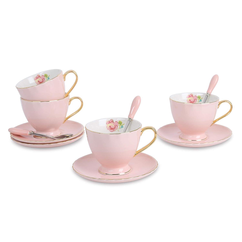 Artvigor New Bone China 4 Sets Coffee & Tea Set, Porcelain Coffee Cup and Saucer,Pink,220ml