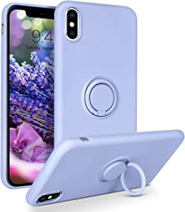 BENTOBEN iPhone Xs Max Case, Slim Silicone Cover with 360° Ring Holder Kickstand for Magnetic Car Mount Anti-Scratch Non-Slip Ptotective Case for Apple iPhone Xs Max 6.5 inch, Purple