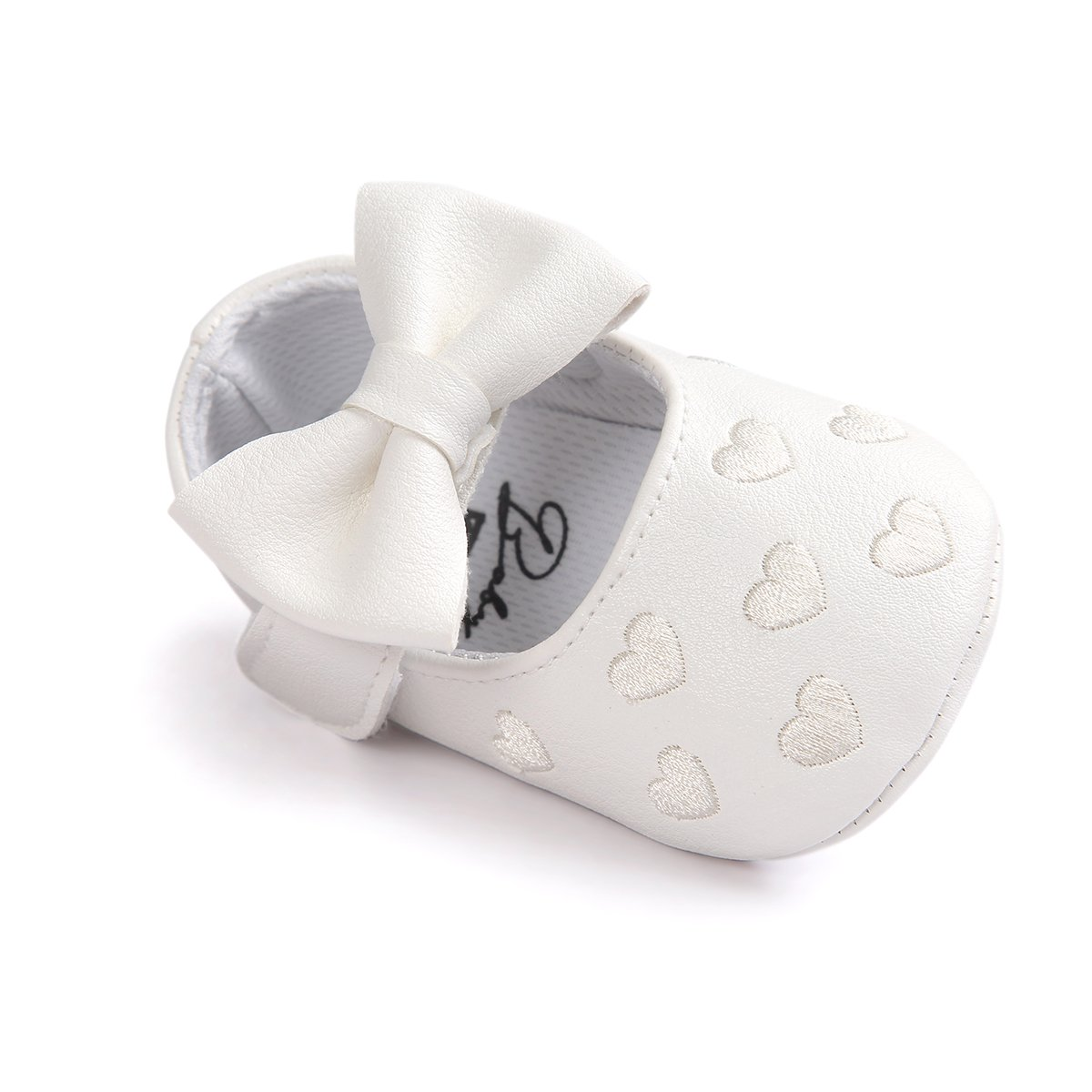 Amazon.com: Itaar Baby Girl Moccasins Bow PU Leather Heart Embroidered Soft Soled Shoes for Infants Toddlers: Baby