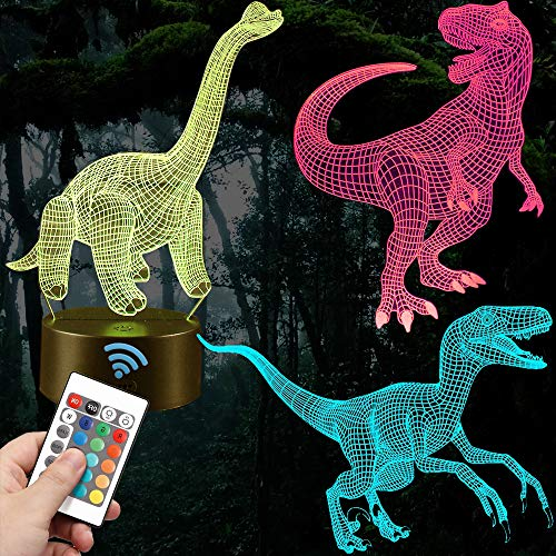 Dinosaur 3D Night Light,3 Acrylic Sheet, 7 Colors Change and Three Pattern Remote Control,Children Room Boy&Girl Bedroom Decor(3 Dinosaur) (3 - Smart Dinosaurs Cycle