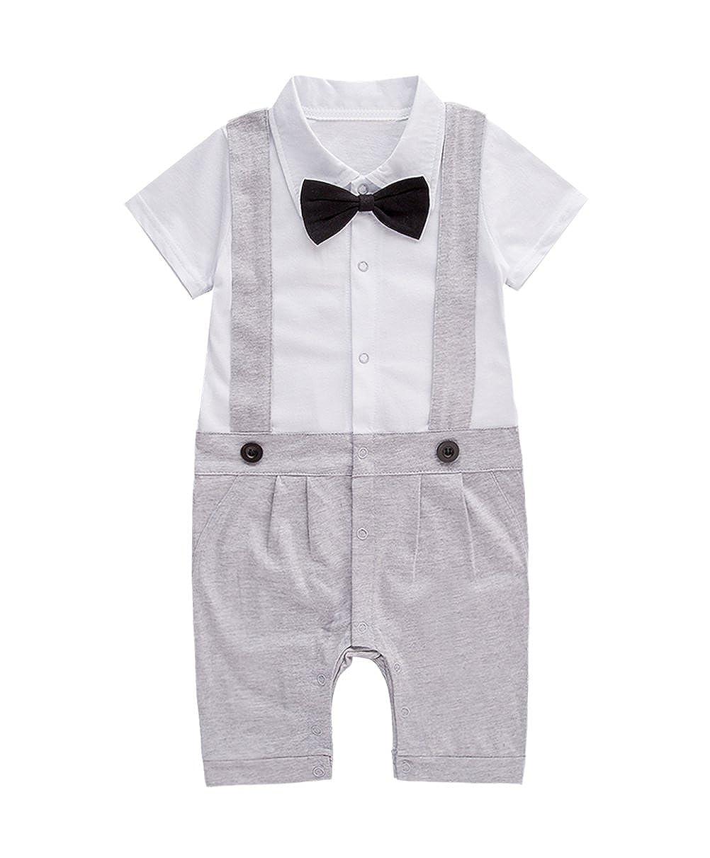 XM Nyan Mays Baby Boys Short Sleeve Bowtie Faux Suspenders Tuxedo Romper