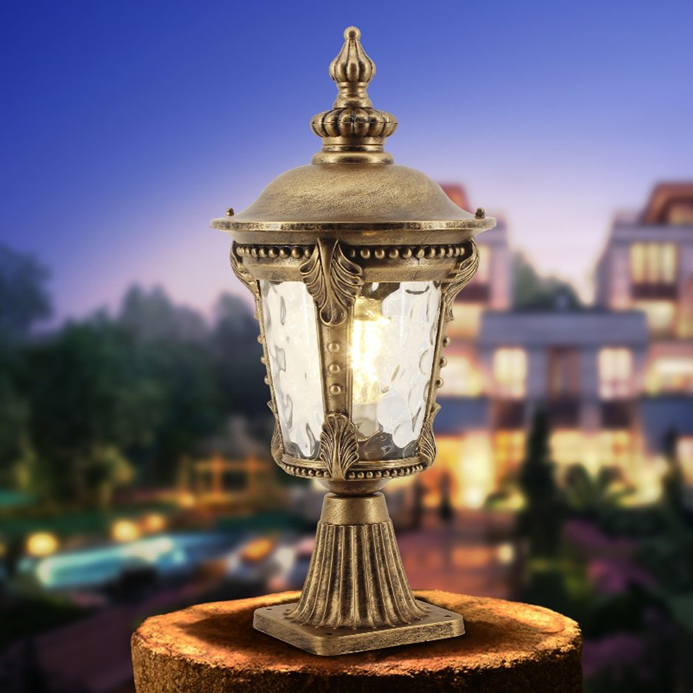 Modeen Continental Lantern Waterproof Patio Glas Column Lamp Outdoor Table Lamp Vintage Tradition Victoria Villa Garden Post Lawn Lamp Aluminum Street Light E27 Decoration Illumination