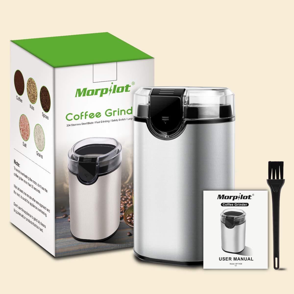 morpilot Molinillo Eléctrico de Café Semillas Especias Granos, Potencia de 150W, Capacidad de 70g, Duradero Acero Inoxidable, Libre de BPA, Incluye un Cepillo de Limpieza
