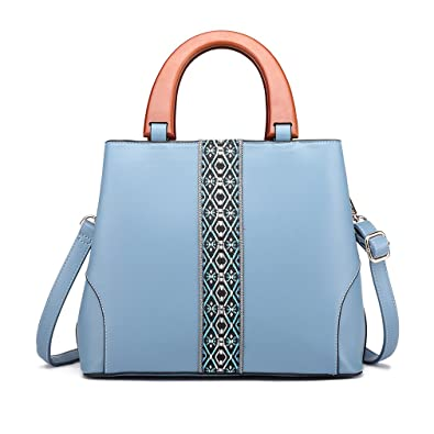 fcdf150e33 Miss Lulu Embroidery Shoulder Bag Classical Top Handle Bag with Wooden  Handle PU Leather Handbags for