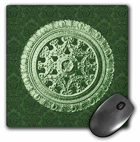(3dRose Jaclinart Bows Scrolls Shells Floral Damask - Sage green ornate vintage architectural element on forest green damask background - MousePad (mp_31821_1))