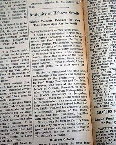DEAD SEA SCROLLS Hebrew Bible Discoveries AUTHENTICITY STUDIED in 1949 Newspaper