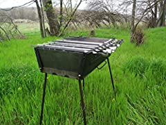 """★Mangal-Case model """"Tourist"""" for 10 Skewer ★ Model """"Tourist"""", designed in the Soviet Union and survived a number of modifications ★ The advantage of this brazier not only in the simplicity and reliability of its construction, but also in the ..."""