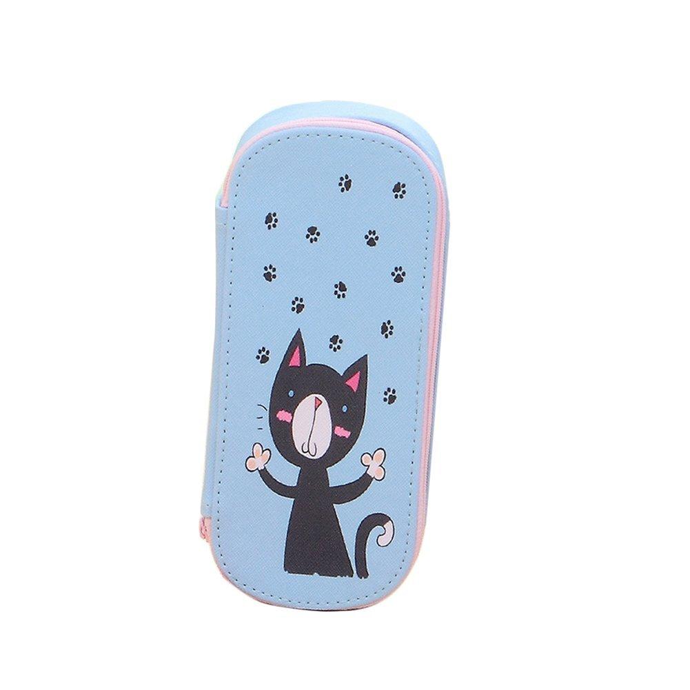 Cosanter Pencil Case bag piccolo gatto modello grande borsa di tela cosmetici occhiali per ragazzine (azzurro)